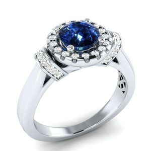 Elegant 925 Silver  Round Cut Blue Sapphire Ring